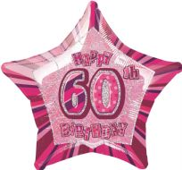 "Glitz 20"" Star Balloon Pink - Age 60"